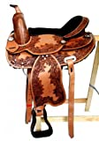 Baumloser Westernsattel INDIANA aus Büffelleder mit Klettkissen, Größe:16 Zoll