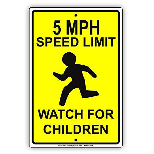 wenyige8216 5 MPH Speed Limit Watch for Children Caution Warning Notice Aluminium Metal 8