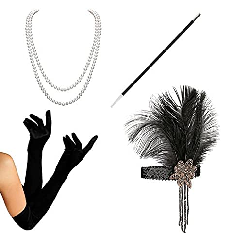 1920s Accessories set Flapper Costume-KQueenStar(2017 New Design) For Women Feather Headband,Gloves,Pearl Necklace,Black Cigarette Holder