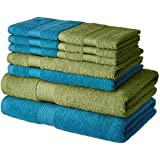 Solimo 100% Cotton 10 Piece Towel Set, 500 GSM (Olive Green and Turquoise Blue)