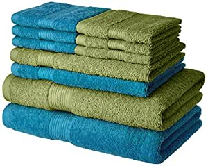Amazon Brand - Solimo 100% Cotton 10 Piece Towel Set, 500 GSM (Olive Green and Turquoise Blue)