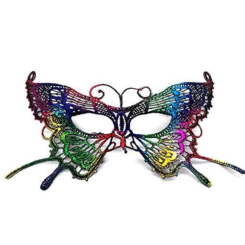 Lumanuby 1x Bunt Schmetterling Spitzen Maske für Halloween Maskerade Parteien Kostüm Partys oder Karneval Augenmaske für Damen
