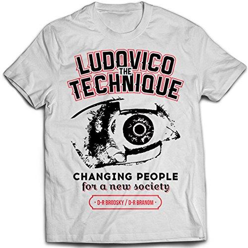 9272w Ludovico Technique Uomo T-Shirt A Clockwork Orange Korova Milk Bar Stanley Kubrick The Shining Overlook Hotel Bianco