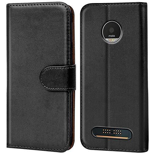 Verco Moto Z3 Play Hülle, Handyhülle für Motorola Moto Z3 Play Tasche PU Leder Flip Case Brieftasche - Schwarz