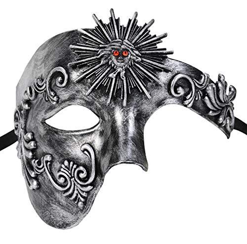FunPa Venezianischen Masken Vintage Phantom der Oper Maskerade Ball Maske Griechischen Römischen Helios Party Prom Ball Cosplay Kostüm Verkleiden Zubehör für Karneval Maske Halloween - Griechisch Römischen Kostüm Zubehör