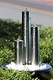 Köhko 127 cm Springbrunnen 22006 aus Edelstahl mit LED-Beleuchtung Säulenbrunnen