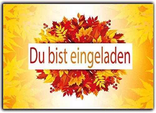 Herbstfest herbstlich Einladungskarten Herbst - fallende Blätter - (10 Stück) Einladung zum Geburtstag Party Kinder Erwachsene