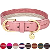Blueberry Pet Vintage Chic Zweifarbiges Echtleder Hundehalsband in Pink und...