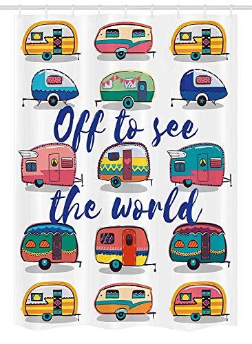 Yeuss Camper Stall Duschvorhang, Weg von der Welt inspirierende Zitat auf Mini Caravans Hintergrund Vintage Reise Bild, Stoff Badezimmer Dekor Set mit Haken, Multi zu sehen