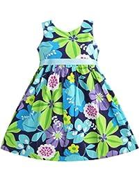 Mädchen Kleid Blau Gürtel Blume Drucken Party