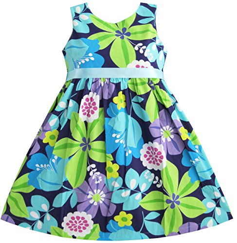 Mädchen Kleid Blau Gürtel Blume Drucken - Blau Mädchen Kleid