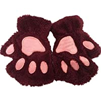 Aikesi Ladies Winter Half Finger Guantes Bear's Paw Style Estiramiento de Terciopelo Artificial Super Soft Warm cute cartoon Guantes (Borgoña)