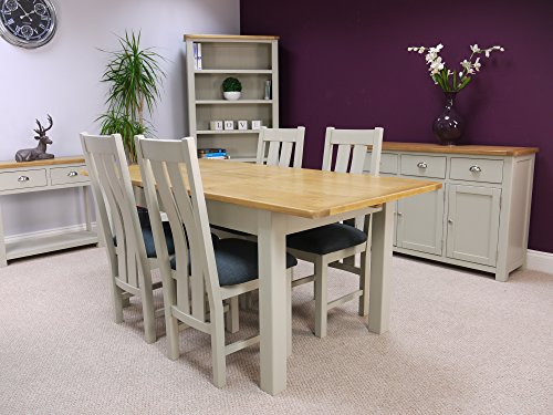 Aspen Painted Oak Sage Grey Extending Dining Table And 4 Chairs