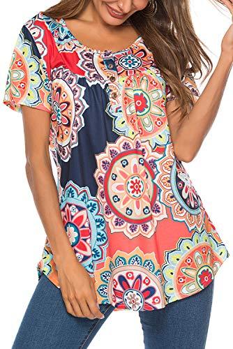 Damen T-Shirt Kurzarm Casual Knopfleiste Blusen Locker Oberteil Sommer Shirt