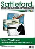 Sattleford Aufkleberfolie: 4 Vinyl-Klebefolien für Inkjet-Drucker, wetterfest, DIN A4, weiß (selbstklebend)