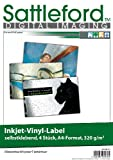Sattleford Aufkleber Folie: 4 Vinyl-Klebefolien für Inkjet-Drucker, wetterfest, DIN A4, weiß (Selbstklebe Folien)