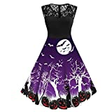 Sillor Minikleid Damen Retro Hollow Out Drucken Halloween Party Selbstgemacht Abendkleid, Lässig...