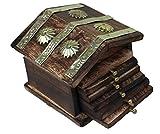 Sri Balajee Bangles Rajasthani Wooden Antique Beautiful Miniature Hut Design Tea Coffee Coaster Set - Home Decor Handicrafts | Home Decor | Living Room, Bedroom| Showpiece| Utility Décor