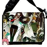 "MiracleL, borsa a tracolla stile ""messenger"", in tela, motivo anime nero Steins Gate 40cmx21cmx12cm"