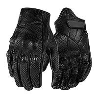 Surpassme Leather Motorcycle Gloves Screen Touchable Goat Skin Full Finger Motocross Gloves for ATV Racing Outdoor Activities X-Large black MTGV031VXL