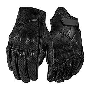 Surpassme Leather Motorcycle Gloves Screen Touchable Goat Skin Full Finger Motocross Gloves for ATV Racing Outdoor Activities