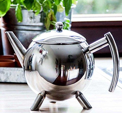 Teekanne, Edelstahl glänzend, 1 Liter, Doppelwandig, patentierter Tropfstop, Wärmeisolierender Edelstahlgriff, Teebereiter, Kanne