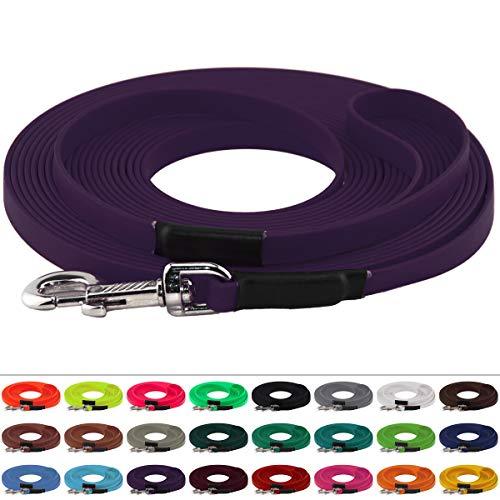 BioThane Schleppleine 13 mm breit, 25 Farben/Lila / Violett, 1-30 Meter / 5 m, Handschlaufe, genäht