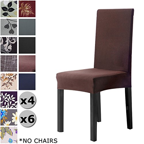 YISUN Modern Stretch Dining Chair Covers Removable Washable Spandex Slipcovers for High Chairs 4/6 PCs Chair Protective Covers (Red/Solid Pattern, 4 PCS)