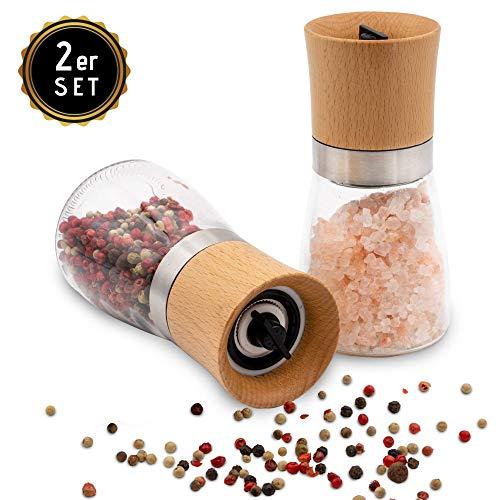 Hannah's Homebrand® Salz und Pfeffer Mühle mit Keramik-Mahlwerk (härter als Stahl) - moderne Salzmühle und Pfeffermühle aus Edelstahl, Holz und Glas - deutsche Marke