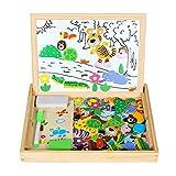 ANKOUJA 110 Magnetisches Holzpuzzle Spielbretter Holz Staffelei Doppelseitige Tafel Holzbrett als Pädagosisches Spielzeug Puzzle aus Holz als Lernspielzeug