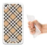 WoowCase Wiko Selfy 4G Hülle, Handyhülle Silikon für [ Wiko Selfy 4G ] Braun mit schwarzen Punkten Schottenkaro drucken Handytasche Handy Cover Case Schutzhülle Flexible TPU - Transparent