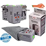 Bulfyss Universal Travel Adapter with Built in Dual USB Charger Ports with 125V 6A, 250V Surge/Spike Protected Electrical Plug (Grey) - Made in India