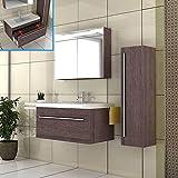 Badmöbel Set mit Waschbecken aus Mineralguss und Unterschrank mit Softclose-Funktion/Alamo-Eiche/Modell: Garda 900