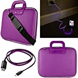 Sumaclife Cady 10.2 Inch Tablet Messenger Bag For Google Pixel C With Lightning Micro Usb Data Cable (Purple) (AD_NBKLEA525DAT413_10CAD004)