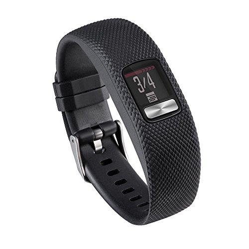 Vodool Silicone Wrist Band Bracelet Strap for Garmin VivoFit 4 Watch(Black L)