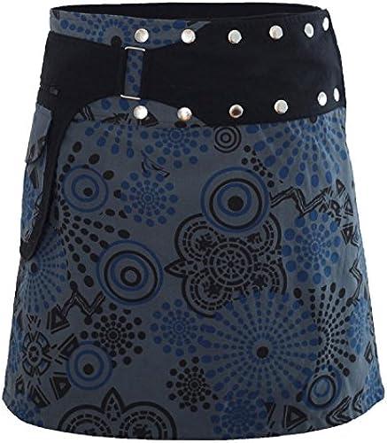 PUREWONDER Damen Wickelrock Baumwolle Rock mit Tasche sk170