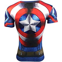 A. M. Sport Camiseta Fitness Compresion Hombre con Dibujos de Superheroes Para Entrenar y Hacer Deporte. Licras. (Capitan Tirantes/Escudo)