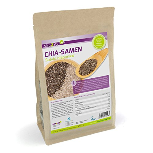 Vita4You graines de chia - Salvia hispanica - 1 kg Zippbeutel - 1er Pack (1000g)