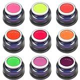 9x 5ml Candy Pop Colors Vernis à ongles Set haut Deck StudioLine Gel de Couleur fluo pour ongles design RM Beauty Nails