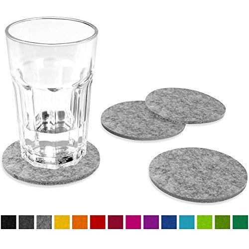 FILU Filzuntersetzer rund 8er Pack (Farbe wählbar) hellgrau – Untersetzer aus Filz für Tisch und Bar als Glasuntersetzer / Getränkeuntersetzer für Glas und Gläser ? grau