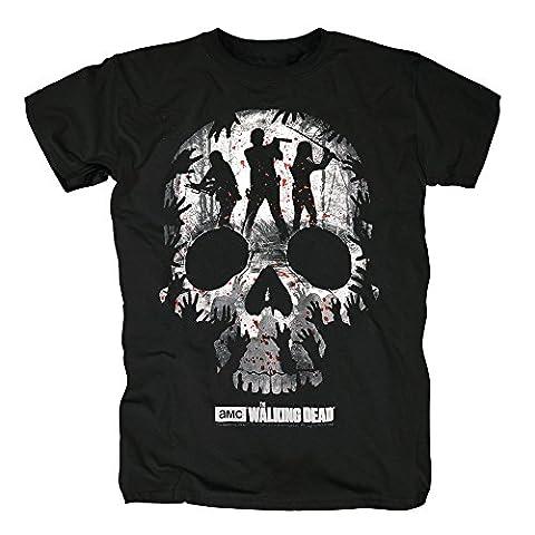 TSP The Walking Dead - Trio Skull Silhouette T-Shirt Herren M Schwarz (Trio Von Halloween-kostüme)