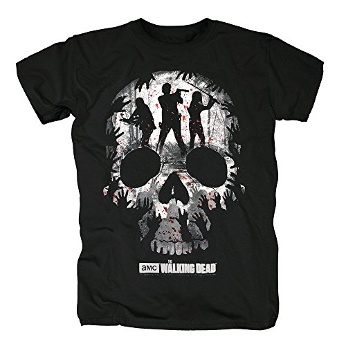 Von Trio Kostüme Halloween (TSP The Walking Dead - Trio Skull Silhouette T-Shirt Herren M)