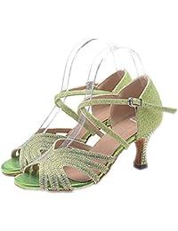 Mujer Latino Jazz Moderno Zapatos De Swing Sandalia Tacones Alto Rendimiento Profesional Pedrería Purpurina Hebilla Tacón