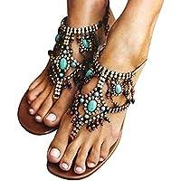 Sandalias fresco planos Bohemian Rebordear,Sonnena ❤️ Zapatos casuales estilo bohemio nacional Cómodo zapato plano con cuentas Sandalias de mujer sexy