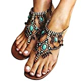Beladla Sandalias para Mujer Zapatos con Cuentas Playa De Las Sandalias Rhinestone Dulce Clip Toe De Gladiador Tiras Bajas Planas Talones Chanclas Beach Sandals Shoes