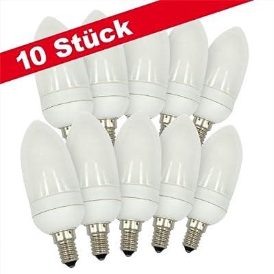 10x CLE Energiesparlampe Kerze 7W E14 827 2700K warmweiss