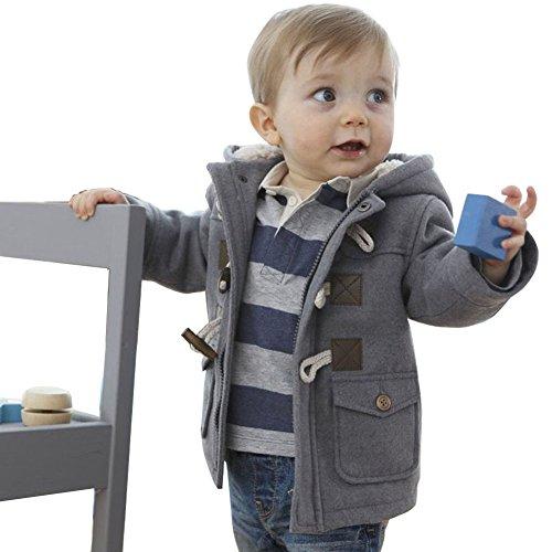ARAUS-Baby Jungen Mantel Winter Jacke Kinder Kapuze Winterjacke Steppjacke Fleecejacke Duffle Outerwear Trenchcoat Grau 110