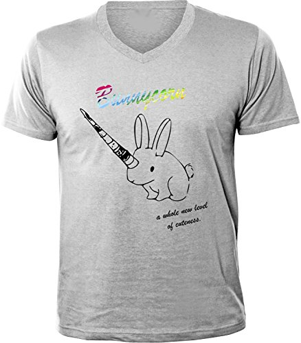 Mister Merchandise Herren Men V-Ausschnitt T-Shirt Bunnycorn Tee Shirt Neck bedruckt Grau
