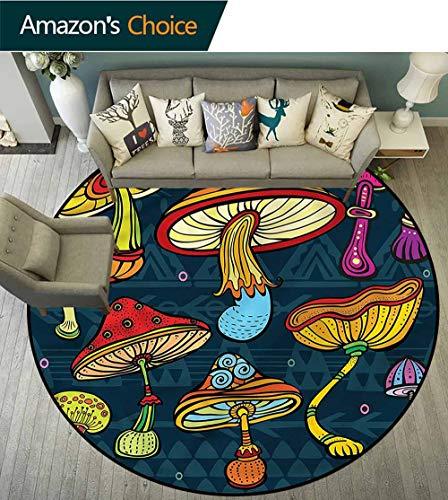 RUGSMAT Fußmatte für Esszimmer, Schlafzimmer, Pilzhaus im Garten, Wohnzimmer, Esszimmer, Schlafzimmer, Teppiche, Polypropylen, Style-07, Diameter-59 -