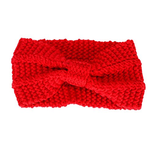 Butterme Frau Lady Mädchen Fashion Crochet Bogen Turban Strick Gestricktes Stirnband headwrap Winter Ear wärmer Haar Bande rote -